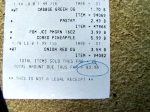 Receipt for Dr. Oz Food Cleanse groceries