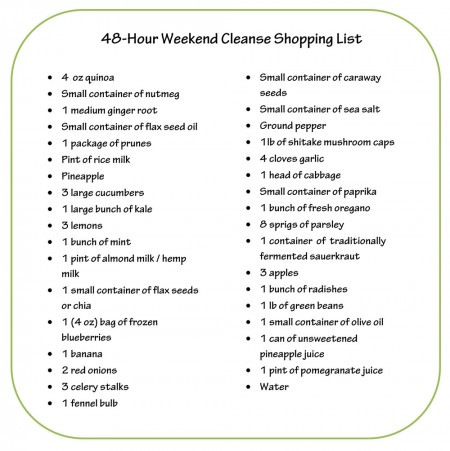Dr. Oz Weekend Cleanse Shopping List