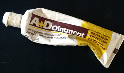 Here's my crumpled, well-used tube of A+D ointment. My new favorite cure for cracked, dry cuticles and chapped lips.
